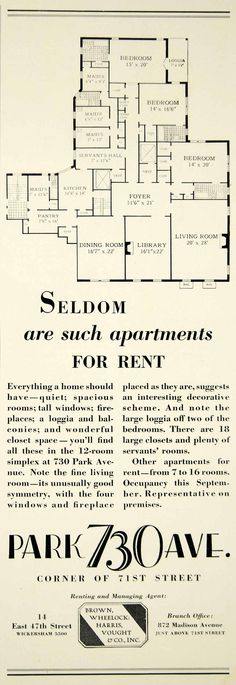 1929 Ad 730 Park Ave 71 St NY Luxury Apartment Floor Plan Brown Wheelock YTS2