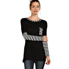 "LOWEST ""Poker Face"" Striped Top Long sleeve black top with striped accents. Casual just became way more fun! Brand new without tags. Bare Anthology Tops"