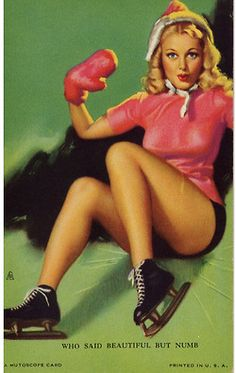 Pin Up Girl Poster 11x17  Mutoscope art Cute Blonde High Heels Long Legs