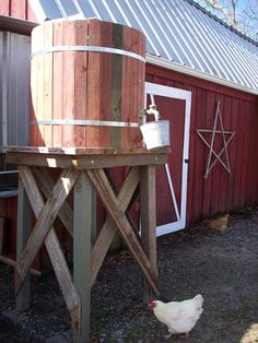 Collect rainwater via chicken coop gutter, store it in a rain barrel on a platform and use gravity to water the chickens. Have a similar set up on goat pin, greenhouse, etc. Water Barrel, Water Collection, Mini Farm, Water Storage, Rainwater Harvesting, Hobby Farms, Water Tower, Raising Chickens, Cool Plants