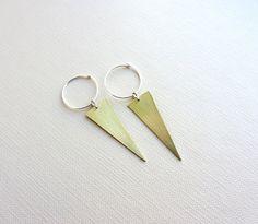 Gold Brass triangle earrings Sterling silver hoop  by lunahoo, $25.00
