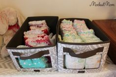 DIY Small Room Organization for a new baby - We used Thirty One Bins to hold diapers Thirty One Baby, Thirty One Gifts, 31 Gifts, Baby Bedroom Furniture, Baby Nursery Organization, Room Organization, Small Master Bedroom, Master Bedrooms, Disposable Diapers