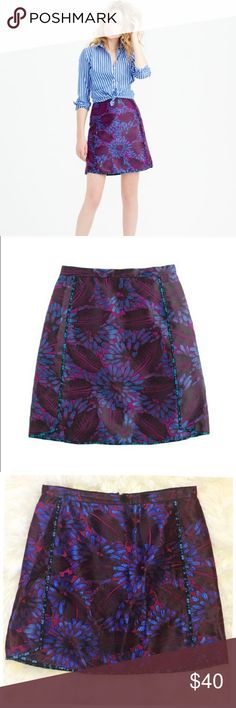 """J. Crew Mini Skirt in Midnight Jacquard Floral 10 J. Crew Mini Skirt in Midnight Jacquard Floral --- size 10 --- like new condition --- viscose cotton --- back zip --- lined --- """"A mini skirt that's long on style, thanks to contrast piping and a shirttail hem. Our designers were inspired by a vintage swatch when creating the print, a subtle floral that will keep you looking polished whether you're at a brunch or a barbecue ---  or just spending another day at the office."""" --- 16"""" waist…"""