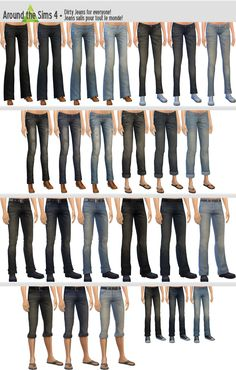 Around the Sims 4 | Dirty Jeans for Everyone! CAS clothing bottom base game recolor for male & female adult & child