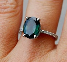 Green Sapphire Ring Diamond Ring 14k white gold ring by