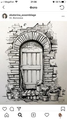 The door with micron pen – Art Sketches Landscape Pencil Drawings, Landscape Sketch, Pencil Art Drawings, Art Drawings Sketches, Drawing Drawing, Drawing Ideas, Drawing With Pen, Drawing Tips, Pencil Sketches Of Nature