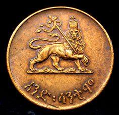 1944 ETHIOPIA Haile Selassie & Lion of Judah TONED GEM Rastafarian Penny SCARCE