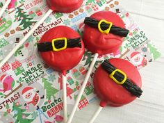 Dress up your Oreo cookie as Santa for a delicious holiday treat! Oreo's are my favorite guilty pleasure, so each holiday I try to make a festive themed pop with the cookies. Children and adults alike will love how festive the pops look and taste. These Santa pops are also perfect for