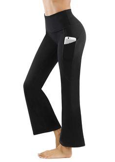 Fengbay Bootcut Yoga Pants, Women's Bootleg Yoga Pants with Pockets Tummy Control 4 Way Stretch Plus Size Yoga Workout Pants Plus Size Yoga, Dress Yoga Pants, Yoga Pants With Pockets, Black Yoga, Scrub Pants, How To Do Yoga, Workout Pants, Yoga Fitness, Fashion Brands