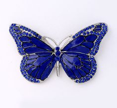 Cobalt Blue Butterfly Brooch Royal Blue Wedding Bridal Bridesmaid Flower  Girl Dress Cake Bouquet Brooches DIY