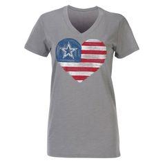 NFL Dallas Cowboys Women's American Heart Slub V-Neck T-Shirt - Gray