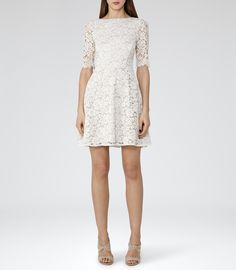 Womens Off White Lace Fit And Flare Dress - Reiss Missie