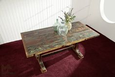 SPIRIT dining table # 11 - 180x90cm Indian waste wood paint.