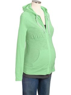 Maternity Slub-Knit Zip-Front Hoodies