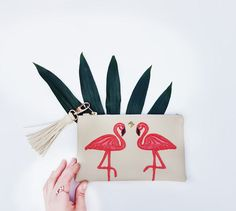 Your place to buy and sell all things handmade Deer Makeup, Makeup Pouch, Leather Pouch, Makeup Yourself, Pouches, Flamingo, My Etsy Shop, Make Up, Mom
