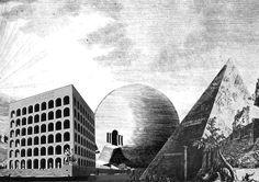 (left) palazzo della civilta italiana, giovanni guerrini, rome  (middle) haus des gaertners, claude nicholas, ledoux chaux  (right) pyramid of cestius, giambattista, piranesi, rome