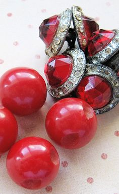 Vintage red Bakelite and ruby red rhinesetone buttons
