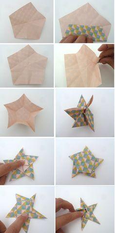 Origami-evenementen: tutorial over Origami Star Mobile Diy Origami, Design Origami, Origami Simple, Origami Frog, Origami Love Heart, Origami Paper Folding, Origami Mouse, Origami Star Box, Origami Dragon
