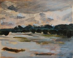 painting by Phil Barron. 2012.  tweed river in flood