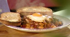 Canadian baked beans with smokey bacon: http://gustotv.com/recipes/lunch/canadian-beans-smokey-bacon/