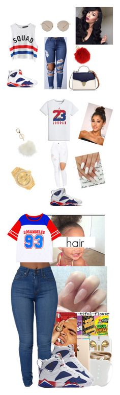 """""""""""Olympic"""" Air Jordan 7 Retro"""" by prinxcess-adri ❤ liked on Polyvore featuring Chicnova Fashion, NIKE, Gucci, Aspinal of London, Furla, Avenue and Rolex"""