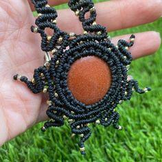Crystal Jewelry, Crystal Necklace, Smoky Quartz Necklace, Micro Macrame, Hippie Boho, Seed Beads, Wax, My Etsy Shop