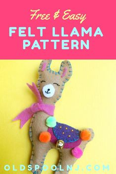 A super cute felt Llama sewing project! Perfect for sewing beginners A super cute felt Llama sewing project! Perfect for sewing beginners Easy Felt Crafts, Felt Diy, Crafts For Kids, Sewing Projects For Beginners, Sewing Tutorials, Clay Tutorials, Sewing Tips, Felt Crafts Patterns, Felt Monster
