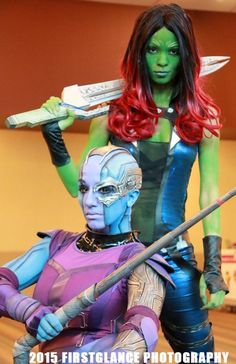 Nebula & Gamora  Cosplayed by Sara Moni Cosplay and AmberSkies Cosplay, photographed by FirstGlance Photography   Read More: Best Cosplay Ever (This Week) 01.18.15 | http://comicsalliance.com/best-cosplay-ever-this-week-01-18-15/?trackback=tsmclip Comic Con Cosplay, Epic Cosplay, Cosplay Girls, Best Cosplay Ever, Marvel Cosplay, Amazing Cosplay, Superhero Cosplay, Cosplay Ideas, Marvel Halloween Costumes
