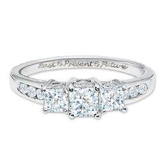 2 CT. T.W. Princess Cut Diamond Three Stone Past Present Future Ring in 14K White Gold Now $4289.40 ZALES