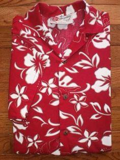 BOYS MEDIUM (10/12) HILO HATTIE'S red HAWAIIAN SHIRT s/s FLORAL hibiscus EUC!