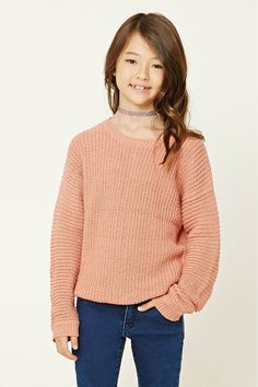 Forever 21 Girls - A ribbed knit sweater featuring a V-cut back, a round neckline, and long sleeves.