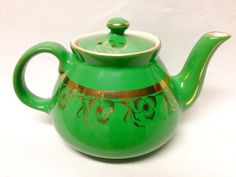 """Vintage Hall China """"New York"""" Emerald Green Teapot, 1930s Collectible USA Made/Art Deco/Replacements/American Pottery/Decorative Teapot"""