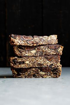 Superfood nut free granola bars made with toasted quinoa, oats, dried figs…