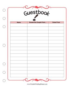 Sample Guest Book Printable Pages Wedding Planner