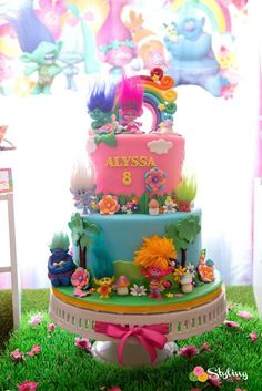 Monica M's Birthday / Trolls - Photo Gallery at Catch My Party Trolls Birthday Party, Troll Party, Monster Birthday Parties, Birthday Party Themes, 2nd Birthday, Bolo Trolls, Troll Cupcakes, Themed Cakes, Party Cakes