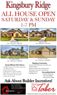 These gorgeous Kingsbury Ridge homes are open for you to come check out this weekend! Come meet me and check out all the amazing features of these newly built Taber Homes. ‪#‎TaberHomes‬ ‪#‎NewConstruction‬ ‪#‎Edmond‬ ‪#‎EdmondHomes‬ ‪#‎RealEstate‬ ‪#‎Realtor‬ ‪#‎MoveInReady‬ ‪#‎OKC‬ ‪#‎KellerWilliams‬ ‪#‎MyOKC‬ ‪#‎BeautifulHomes‬