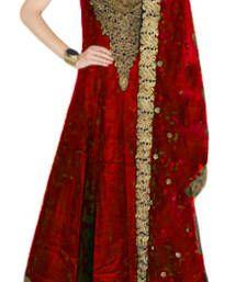 Buy red embroidered Raw Silk semi stitched salwar party-wear-salwar-kameez online