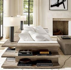 Cloud Modular Left-Corner Console Love this idea of having a table that wraps the back of the couch. Living Room Furniture, Living Room Decor, Modern Furniture, Furniture Design, Furniture Nyc, Furniture Outlet, White Furniture, Cheap Furniture, Rustic Furniture