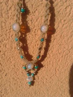 Macrame necklace with turquoise and moonstones