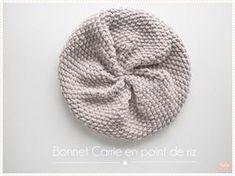 Tricot Le bonnet Carrie point de riz (tuto pdf)
