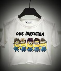 Minion one direction - despicable me - crop top - T-Shirt S M L - Print on fabric - Emzeem by PJ on Etsy, $16.75 AUD