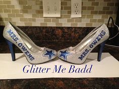 Wedding name with your choice of design Dallas Cowboys Themed wedding heels / shoes Without the Mrs.Owens!!