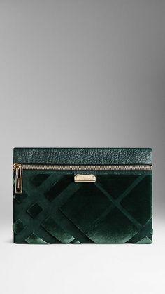 Medium Velvet Check Clutch Bag | Burberry