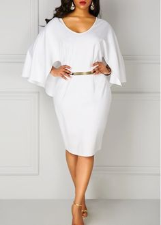 Plus White Batwing Sleeve V Neck Pencil Dress on sale only US$33.00 now, buy cheap Plus White Batwing Sleeve V Neck Pencil Dress at liligal.com
