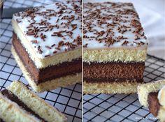 NAPOLITAIN  (Pour 8 P : 6 œufs, 15 g de sucre glace, 185 g de sucre, 150 g de farine, 35 g de Maïzena, 1 c à c de levure chimique, 1 gousse de vanille, 15-20 g de cacao en poudre non sucré, 1 c à s de rhum) (GANACHE : 20 cl de crème liquide, 200 g de chocolat noir) (DECOR : 150 g de sucre glace, un peu de lait, vermicelles en chocolat)