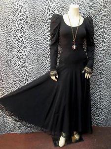 VTG 80S PUNK LABEL BETSEY JOHNSON Full Skirt DRESS with MUTTON SLV