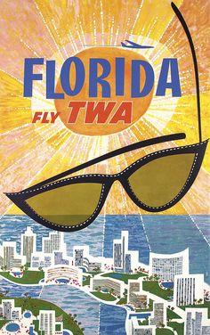 Original 1960s DAVID KLEIN TWA Florida Travel Poster