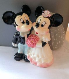 Disney Mickey and Minnie Mouse Bride and Groom Wedding Ceramic Figurine Cake Topper on Etsy, $30.00