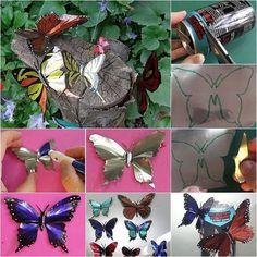 Como hacer mariposas con latas de refresco o cerveza. Paso a paso con imágenes y vídeo para realizar esta manualidad.