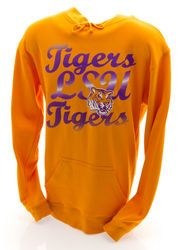 LSU Tigers Hooded Sweatshirt Gold Cursive  www.LSUTigersApparel.com